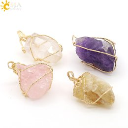 Wholesale Handmade Wire Wrapped Jewelry - CSJA Fashion Irregular Amethyst Citrine Pink Crystal Rose Quartz Handmade Gold Wire Wrap Necklace Pendant Women Natural Stone Jewelry E153