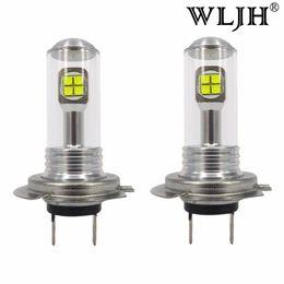 Wholesale Car Daytime Bulbs - WLJH H7 LED White 40W Car LED Fog Lights Bulb High Bright Daytime Auto Light DRL Automobile Lamp 12V 24V 1000Lm