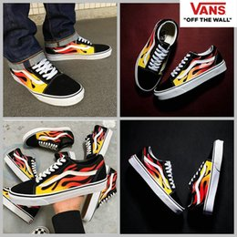 Wholesale Flame Fabrics - 2017 Hot  Classics Black Flame Skateboard Shoes Women Mens Old Skool Fashion Brand Designer Casual Canvas Sneakers 36-44