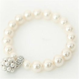 Wholesale Wholesale Stretch Rings - Fashion Designer Pearl Beaded Bracelet Rings Bridal Charm Jewelry for Women Lady Girl Styles Stretch Bracelet Lovely Wedding Jewellry