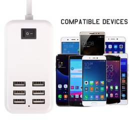 Wholesale Camera Direct Wholesale - For Camera MP3 Phone Samsung HTC LG Home Travel Charger Wall Power Adapter 6 Ports USB Socket Hub +1 Switch UK EU US