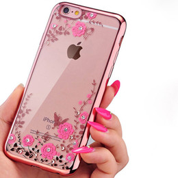 Wholesale Flower Garden Edging - Luxury Bling Diamond Electroplate Soft TPU Case For iPhone X 8 7 6 6S Plus Samsung S7 edge S8 Plus Note 8 Secret Garden Flower Clear Cover