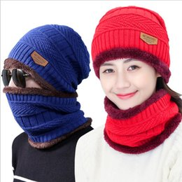 Wholesale Winter Hats Scarfs - Beanie Hat Scarf Set Knit Hats Warm Thicken Winter Hat for Men and Woman Unisex Cotton Beanie Knitted Caps YYA618
