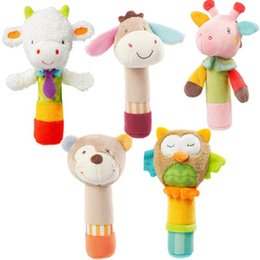 Wholesale Baby Cloth Bear - Wholesale- Baby Rattle Toys Animal Hand Bells Plush Baby Toy With BB Sound Toy Newbron Gift Christmas Bear Owl Deer Donkey Doll CX879434
