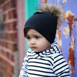 Wholesale Cute Toddler Girls Winter Hats - Winter Fashion Style New Unisex Newborn Baby Boy Girl Toddler Infant Cotton Soft Cute Hat Cap Beanie with fur ball b1397