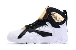 Wholesale Gold Infant Shoe - Boy & girl Air Retro 7 Infant basketball shoes for kids white black gold children athletic 7s sports sneaker multi color and size in stock