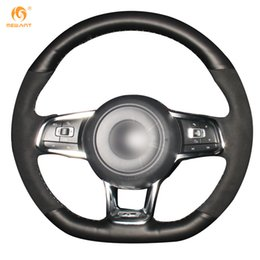 Wholesale Volkswagen Scirocco - Mewant Black Genuine Leather Black Suede Car Steering Wheel Cover for Volkswagen Golf 7 GTI Golf R MK7 VW Polo GTI Scirocco 2015 2016