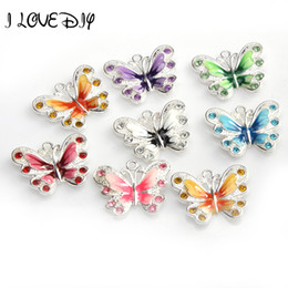 Wholesale 14k butterfly pendant - Wholesale-Wholesale 5pcs Enamel Animal Butterfly Pendant Charms Jewelry Making Findings