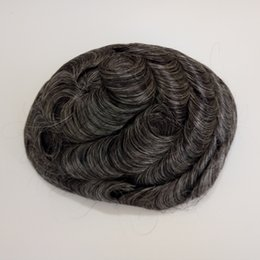 Wholesale Thin Lace Wigs - Grey hair toupee with thin skin base 20cm wide and 25cm long in stock