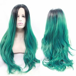 Wholesale Short Dark Green Wig - Hot Sale Heat Resistant Wigs for Women Body Wave Short Black Root to Dark Green Ombre Synthetic Lace Front Wigs