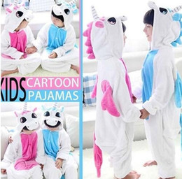 Wholesale Home Clothes Sleepwear - Flannel Unicorn Pajamas Kids Cosplay Cartoon Animal Baby Boys Girls Pajamas Home Clothes Pajamas One piece Sleepwear KKA2878