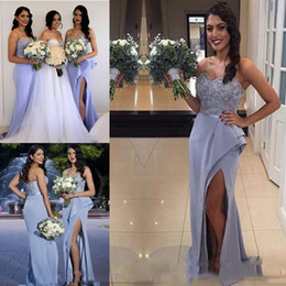 Wholesale Cheap Peplum Wedding Dresses - Light Lilac Mermaid Bridesmaid Dresses 2017 Sweetheart Front Split Ruffles Train Formal Wedding Guest Party Evening Gowns Custom Made Cheap