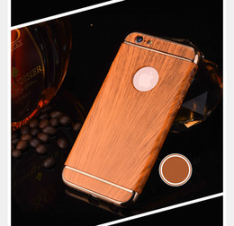 Wholesale Wooden Case Parts - Hot Selling Bling 3 Parts Wood Wooden PC Hard Case for Iphone 7 7Plus 3 in 1 Electroplate Metallic Chrome Hybrid Skin Cover Shell Phone