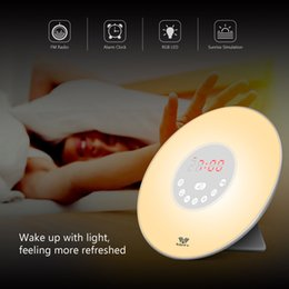 Wholesale Wake Up Alarm Clock - 7 color conversion Wake-up Light Sunrise Alarm Clock LED FM Radio Bedside Sounds Night Colour Lamp