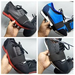 Wholesale Black Flat Pointed Shoes - 2018 Luxury Brand New Casual Shoe Fashion Designer Low Cut Leather Mesh Trainer Cheap Sneaker Man Woman Race Runner Shoes Flat