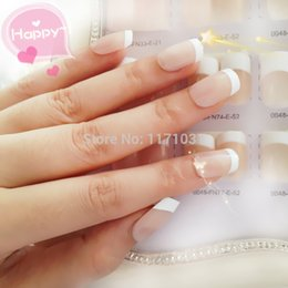 Wholesale Acrylic Nail Art Products - Wholesale- Classical French False Nail Art Tips 10 Sizes Fake Finger Tips ABS Material Nails Full Cover Beauty Manicure Products