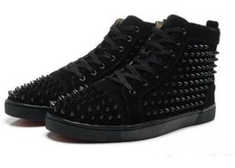 Wholesale mens cheap footwear - Cheap Red Bottom Sneakers for Men with Spikes Black Suede Fashion Casual Mens Shoes ,2017 Men Leisure trainer footwear Women Dress Shoes