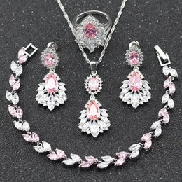 Wholesale 925 Silver Necklace For Sale - 2017 Hot Sale Pink White Topaz 925 Sterling Silver Jewelry Set For Women Necklace Earring Bracelet Ring For Christmas Gift Jewelry B26