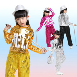 Wholesale Dance Costumes For Boys - New Girl Boy Jazz Dance Girls Jazz Dance Costumes for Girls Kids Sequin HipHop Dancing Children Performance Jazz Costume For Boys Stage Wear