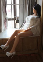 Wholesale Silicone Sex Doll Heads - New 165cm full body huge big breast real silicone sex doll metal skeleton tan skin Japan Asian head TPE oral pussy anal sexy