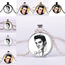 Wholesale Rocks Glasses - Celebrity The King of Rock Elvis Presley Glass Cabochon Necklace Time Gem Stone Necklaces for Women Men fashion Jewelry DROP SHIP 161770