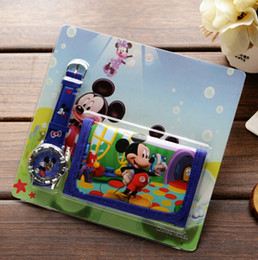 Wholesale Mm Photography - Cartoon Mixed Mickey Faux Leather Quartz Watches And Wallet Boy Girl Gift BW1
