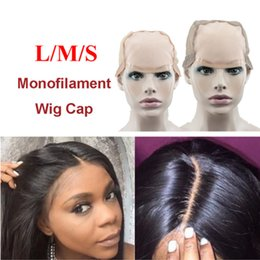 Wholesale Caps Net Wig - Top L M S MONO Wig Caps For Making Wigs With Adjustable Strap Durable Strong Mono Lace Front Cap Hair Nets