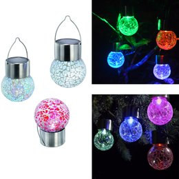 Wholesale Free Light Solar - Solar hanging lights Set of 7 Color Changing White LED Crackle Glass Hanging Lights Free shipping LLFA