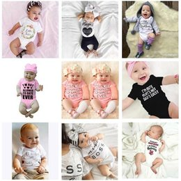 Wholesale Boys Plaid Shorts - 12 Style INS Baby Boy girl letters boss rompers Children INS cartoon Flower Short sleeve triangle rompers baby clothes