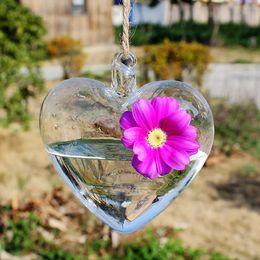 Wholesale Heart Flower Vase - Ivolador Heart-shaped Hanging Terrarium Glass Flower Planter Vase Terrarium Container Succulent Air Plant Home Garden Weding Decor