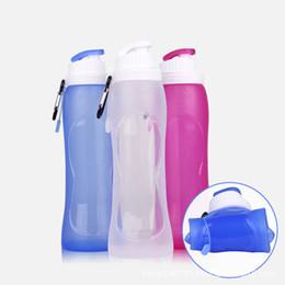 2019 bottiglie d'acqua backpacking Commercio all'ingrosso 500ml Pieghevole Bevanda in silicone Sport Bottiglia d'acqua Camping Viaggi bottiglia di bicicletta ciclismo bottiglie bottiglia studente