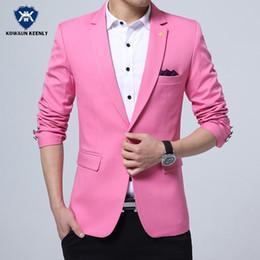 Wholesale Korean Cheap Suits - Wholesale- Fashion 2017 Summer Slim Fit Pink Blazer Men Suit Cheap Casual Blazer Royal Blue Party Jackets Coat Korean Blazer Brand Clothing