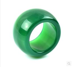 Wholesale White Jade Wedding Bands - Natural agate ring couple models men and women gamblers ring chalcedony green jade ring