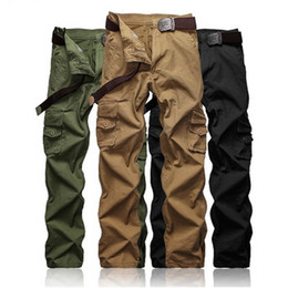Wholesale Cargo Pant Sales - hot sale man cargo pants Europe American casual trousers 3colors 9sizes waist belt available by extra price