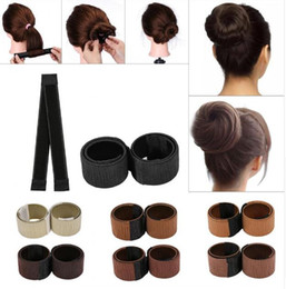 Wholesale hair bows extensions - Most popular Foam Hair Bows Ties Girl DIY Styling French Twist Magic hairstyling Tool Hair Bun Maker