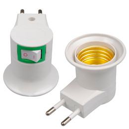 Wholesale Switch Plastic Off - DHL Free Shipping High Quality White E27 Base Socket EU Plug Night Light With Power On-off Control Switch LED_817