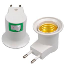 DHL Frete Grátis Alta Qualidade Branco E27 Soquete de Base Plug UE Luz Noturna Com Poder On-off Interruptor de Controle LED_817 de