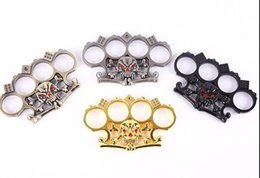 Wholesale Duron Drill - 2017 Knuckle Duster duron drilling fight skulls iron fist boxing stabbed wire dice self-defense weapons to break the window Free Ship