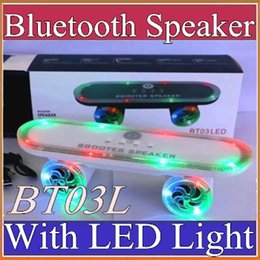 Wholesale f bass - Scooter BT03L Skateboard Mini Bluetooth Speaker with LED Light Wireless Stereo Audio Player Protable Handsfree FM Super Bass Xmas Gift F-YX