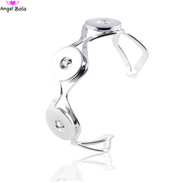 Wholesale Wholesale Bangle Cuff Watches - Wholesale- 18mm Watches Design Snap Bracelet Charm Bangle Ginger Bracelets Fit CZ Snap Buttons Interchangeable Jewelry SN-058 Free Shipping