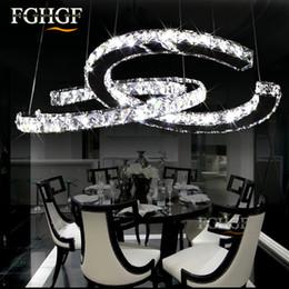 Luces de montaje empotrado led online-Luces de araña de cristal de lujo LED C doble C Lámparas de cristal Lámparas de iluminación LED de cristal que cuelga apropiado para el comedor