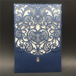 Wholesale Good Birthday Cards - Hot sale Hollow Laser Cut Wedding Invitations Gold Printing Wedding Hollow Wedding Cards coffee white color DHL free shipping in good price