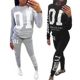 Wholesale Fitness Swim Suits - Fashion women track suits Pullover Long Sweatshirt Pocket Pants Sport 2 PC set O-Neck Long Sleeve Letter Printed Fitness Clothing