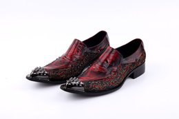 Wholesale Fall Wedding Tips - 2017 New Handmade Pointed Toe Metal Tip Lace Spikes Slip On Dress Shoes Evenig Party Wedding Shoe size 37-46 US12