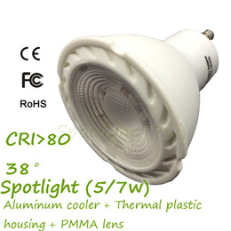 Wholesale 400lm Epistar COB W GU10 LED Spot Light K Bead Lens with Beam Angle AL Cooler Insede Thermal Plastic Outside Pack of