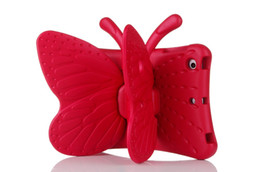 Wholesale Silicone Butterfly Iphone Cases - Wholesale 3D Cute Butterfly Shockproof EVA Foam Stand Cover Pad Tablet Protector Case For iPad Mini 1 2 3 4