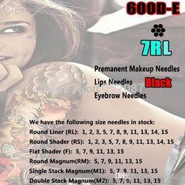 Wholesale Hawk Makeup - Wholesale-7 RL ROUND LINER Black Permanent Makeup Needles & Body Tattoo Needles for Hawk Style Rotary Tattoo Machine Gun Free Shipping