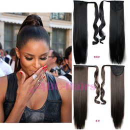 Wholesale Ribbon Hair Extension - Wholesale-24 inch Long straight Ponytail 16color avilable Ribbon Ponytail Hair Extensions Clip In ponytails Hair Extensions Fake ponytails