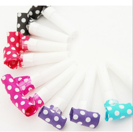 Wholesale Baby Dragon Hat - Wholesale-Cheap 10Pcs Colorful Funny Kids children's Birthday Party Accessory Dots Whistle Blowing Dragon Blowouts Baby Birthday Supplies