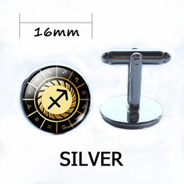 Wholesale Pisces Woman - Silver Plated Pisces Shirt Cufflinks Zodiac Signs Round Glass Dome Cuff Links Constellations Mans Woman Sleeve Button Brand Gift